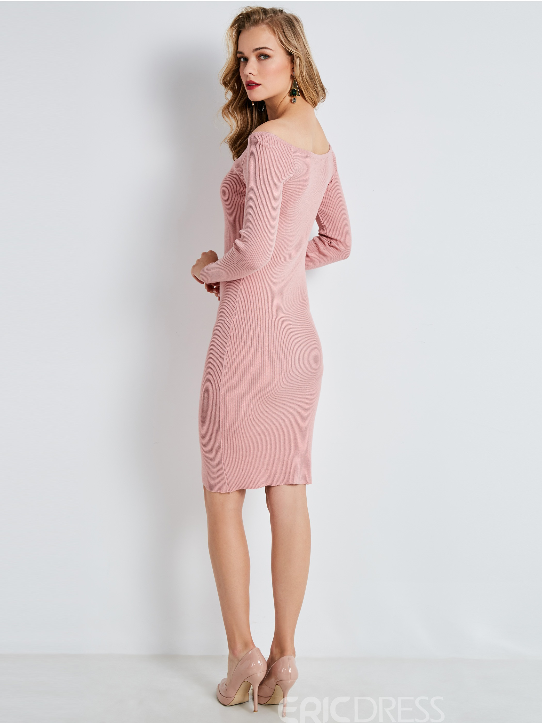 Ericdress Slash Neck Single-Breasted Long Sleeve Dress