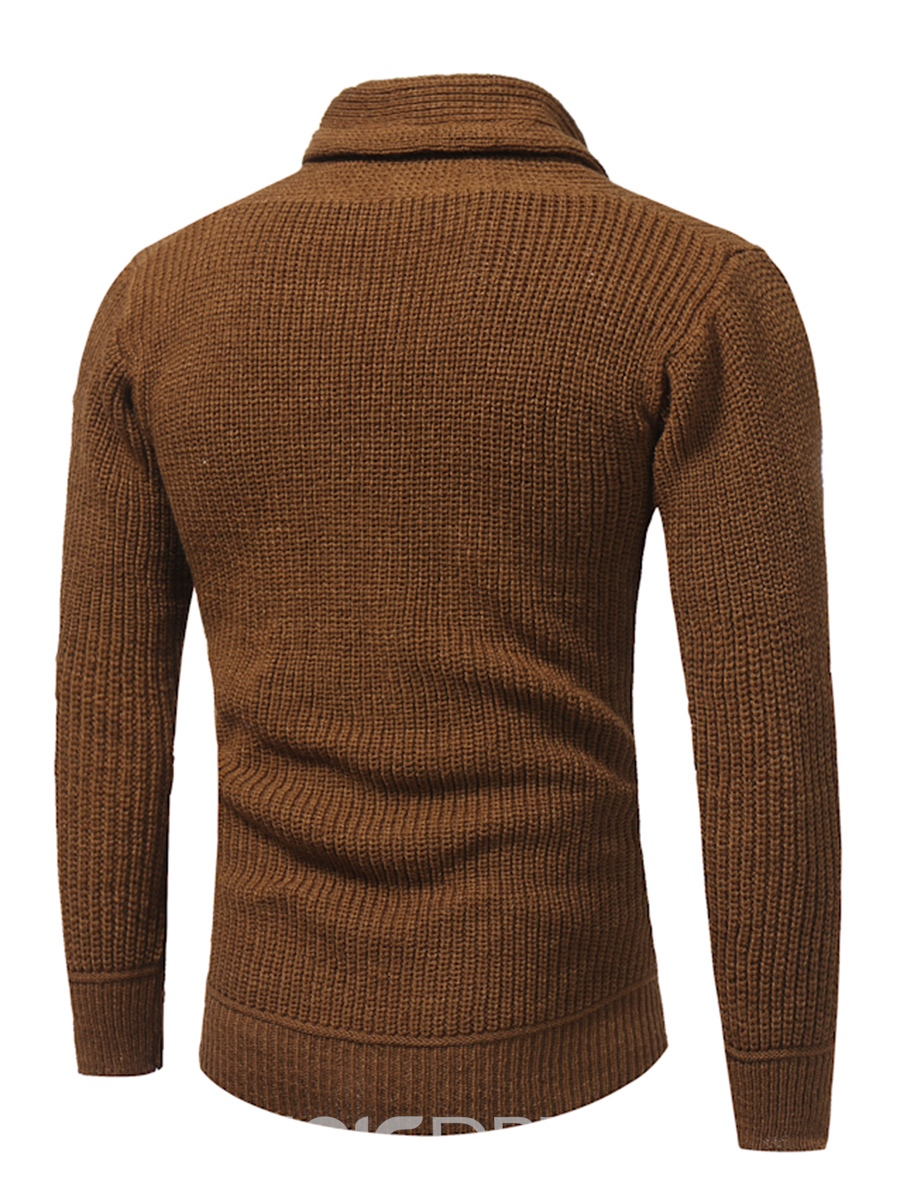 Ericdress Plain Lace-Up Pullover Casual Men's Pullover Sweater
