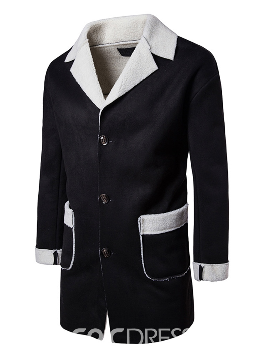 Ericdress Classic Loose Notched Lapel Single-Breasted Men's Woolen Coat