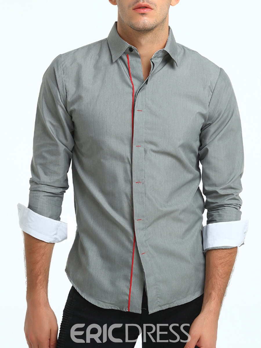 Ericdress Lapel Slim Long Sleeve Unique Men's Shirt