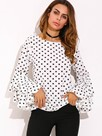 Ericdress Slim Polka Dot Ruffle Sleeve T-shirt