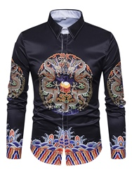 Ericdress Ethnic Style Slim Print Single-Breasted Long Sleeve Mens Shirt