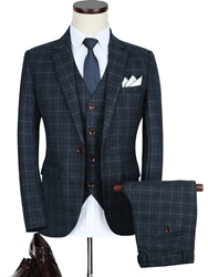 Ericdress Plaid Single-Breasted Notched Lapel Three-Piece Slim Fit Mens Suit