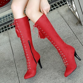 Ericdress Popular Cross Strap Fringe Knee High Boots