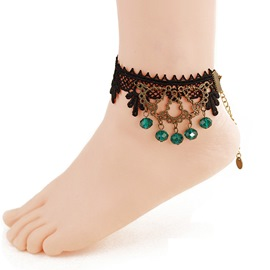 Ericdress Fabulous Emerald Tassel Black Lace Anklet for Women