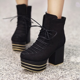 Ericdress Cross Strap Platform Plain High Heel Ankle Boots