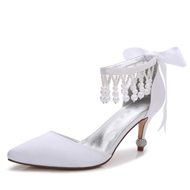Ericdress Ribbon Diamond Stiletto Heel Wedding Shoes with Beads