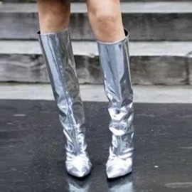Ericdress Silver Pointed Toe Slip-On Knee High Boots