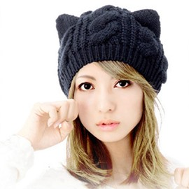 Ericdress Cute Knitting Wool Cat Ears Soild Color Women's Hat