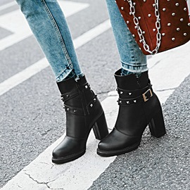 Ericdress Rivet Plain High Heel Ankle Boots with Buckle