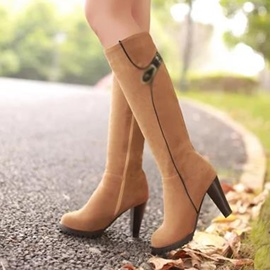 Ericdress Buckle Side Zipper Plain Knee High Boots