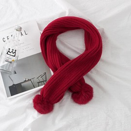 Ericdress Pure Color Fuzzy Ball Knitting Wool Winter/Autumn Scarf