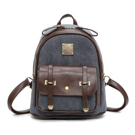 Ericdress Vintage Corduroy Zipper Backpack