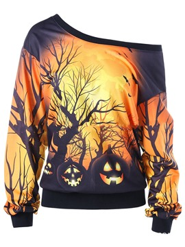 Ericdresss Oblique Collar Halloween Cool Hoodie