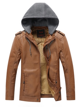 Ericdress Plain Hooded PU Leather Zip Casual Slim Men's Jacket