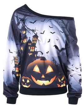 Ericdresss Halloween Oblique Collar Cool Hoodie