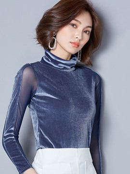 Ericdress Turtleneck Slim Mesh Plain Velvet T-shirt