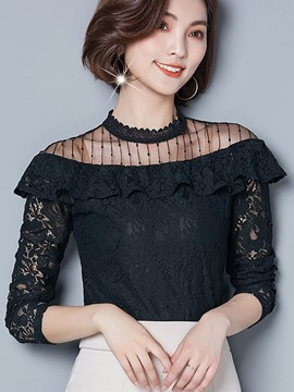 Ericdress Slim Lace Plain Stand Collar Blouse