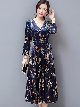 Ericdress Lace-Up Print Expansion Maxi Dress