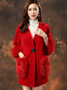 Ericdress Plain Mid-Length Loose Fur Coat