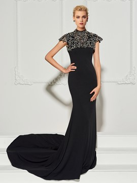 Ericdress High Scoop Neck Baeded Cap Sleeve Mermaid Evening Dress