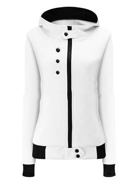 Ericdress Slim Zipper Button Cool Hoodie