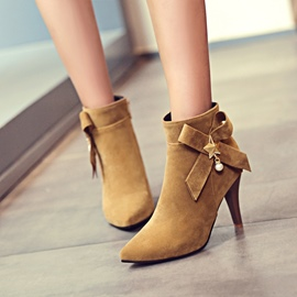 Ericdress Pointed Toe Plain High Heel Boots with Bowknot