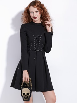 Ericdress Stand Collar Lace-Up Long Sleeves A-Line Dress