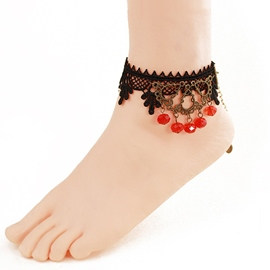 Ericdress Alluring Black Lace Crystal Pendant Anklet for Women