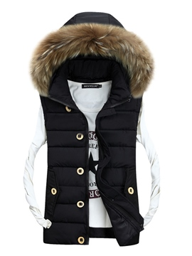 Ericdress Hooded Faux Fur Collar Thick Zipper Men's Vest