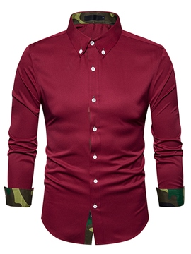 Ericdress Plain Lapel Cotton Patchwork Slim Men's Shirt