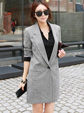 Ericdress Mid-Length Solid Color One Button Blazer