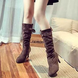 Ericdress Lace-Up Back Plain Knee High Boots