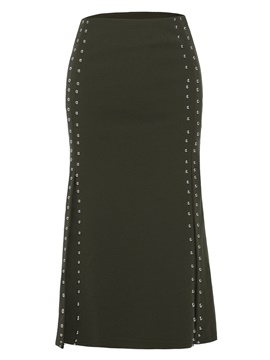 Ericdress Rivet Decorative Mid-Calf Plain Women's Skirt