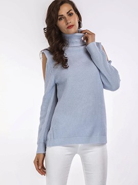 Ericdress Turtleneck Plain Cold Shoulder Knitwear