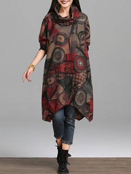 Ericdress Asymmetrical Print Long Sleeves Scarf Casual Dress