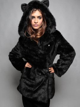 Ericdress Thick Fur Mid-Length Hooded Coat