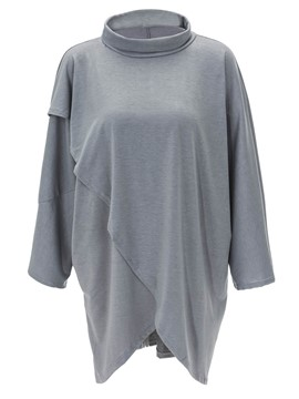 Ericdress Asymmetric Stand Collar Mid-Length T-shirt