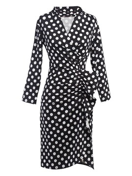 Ericdress Polka Dot Asymmetric Ruffle Pleated Sheath Dress