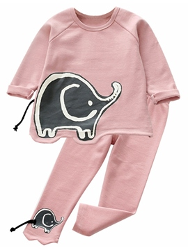 Ericdress Elephant Pattern Long Sleeve And Pant Girls Outfit