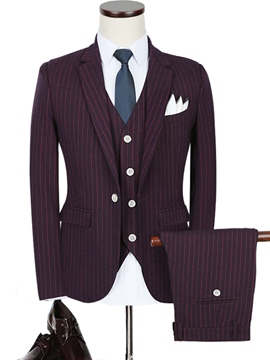 Ericdress One Button Single-Breasted Notched Lapel Three-Piece Slim Fit Men's Suit