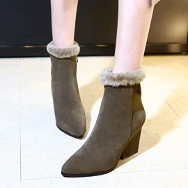 Ericdress Plain Pointed Toe Patchwork Ankle Boots