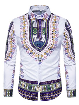 Ericdress Dashiki Ethnic Style Slim African Print Long Sleeve Men's Shirt
