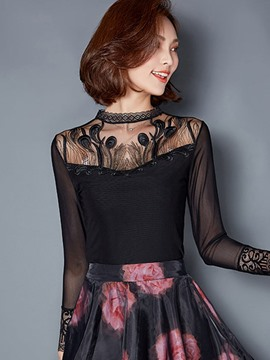 Ericdress Hollow Patchwork Lace Blouse