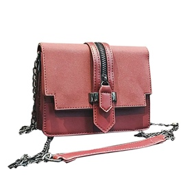 Ericdress Zipper Design Solid Color Chain Crossbody Bag