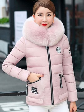 Ericdresss Zipper Plain Fur Collar Down Coat