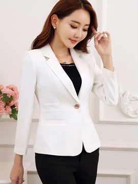 Ericdress Slim Solid Color One Button Blazer