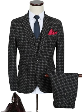 Ericdress Business Plaid Three-Piece Vogue Men's Suit
