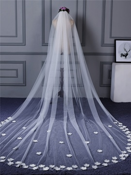 Ericdress One-Layer 3D Flowers Edge Wedding Veil 2019