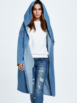 Ericdress Long Hooded Denim Trench Coat